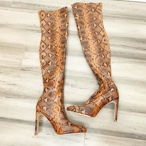 New Pretty Little Thing OTK Snake Print Boots 5